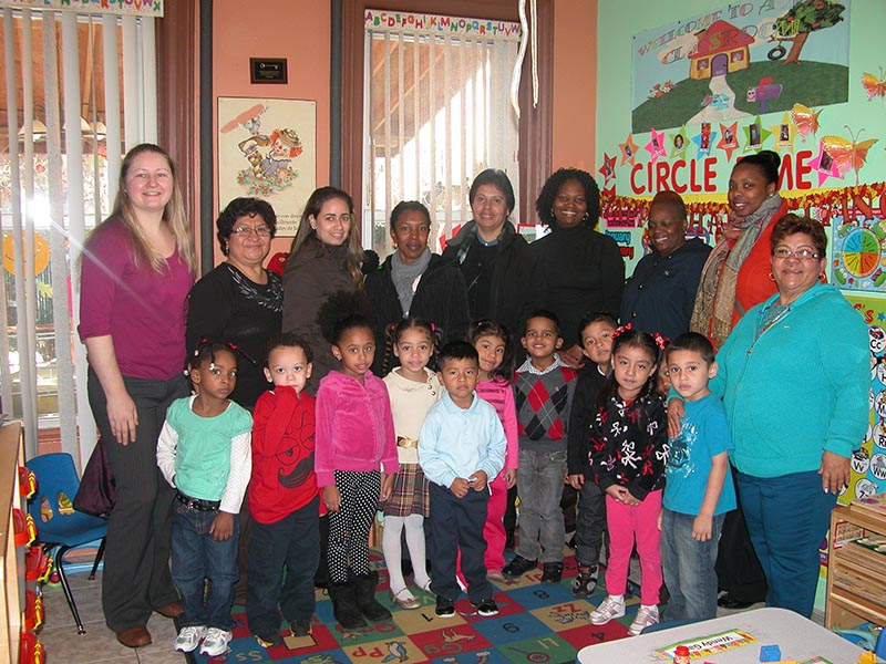 Nurses of the  New York City Tech visiting one of the Head Start classroom.
